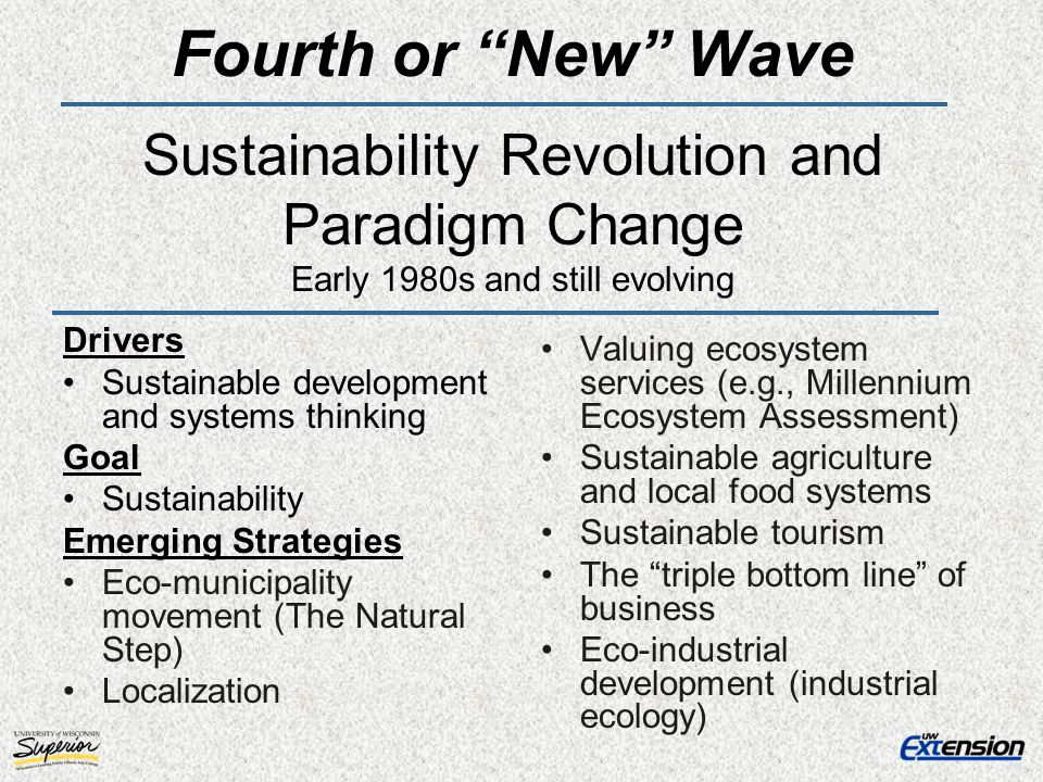Fourth or New Wave Sustainability Revolution and Paradigm Change Early 1980s and still evolving