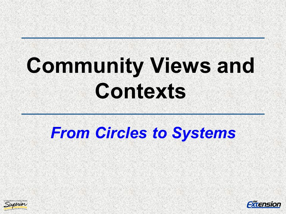 Community Views and Contexts