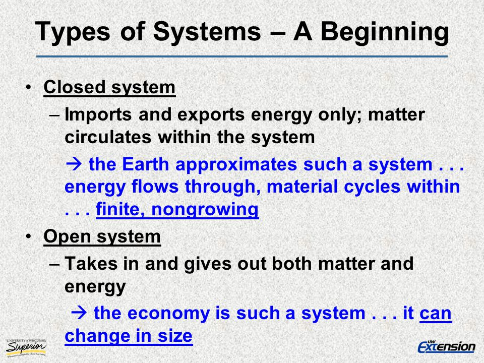 Types of Systems – A Beginning