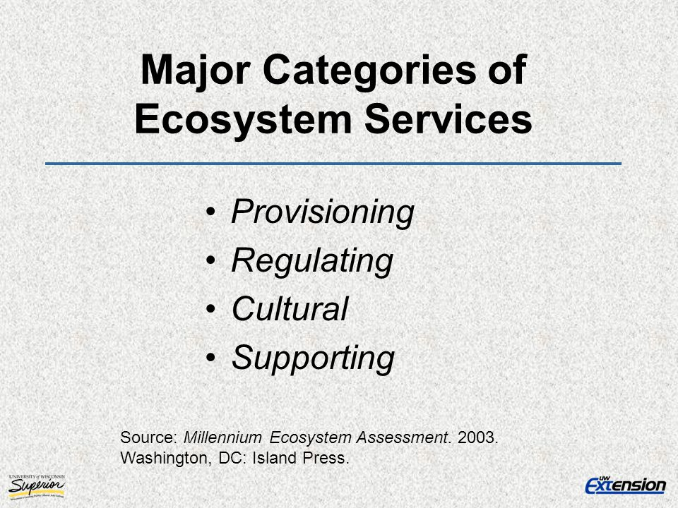 Major Categories of Ecosystem Services