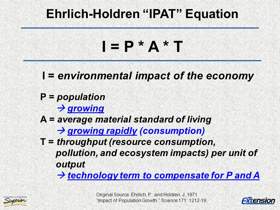 Ehrlich-Holdren IPAT Equation