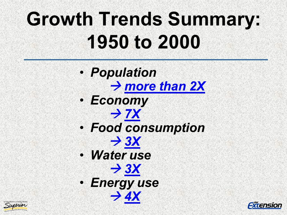 Growth Trends Summary: 1950 to 2000