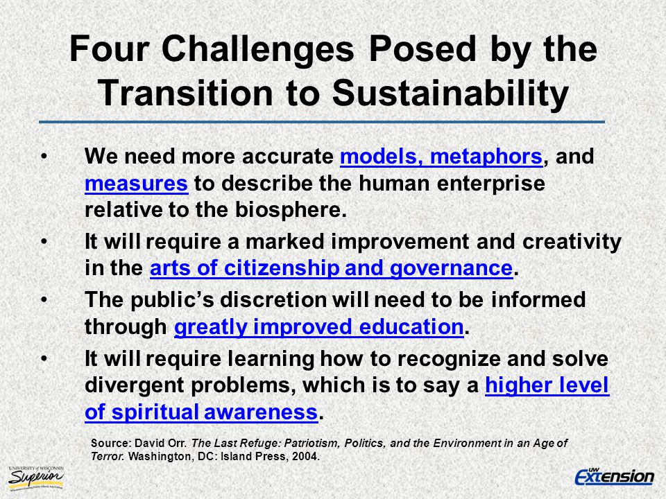 Four Challenges Posed by the Transition to Sustainability