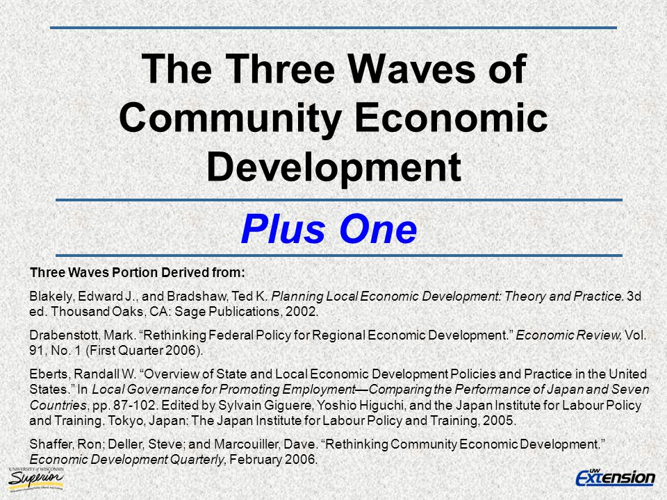 The Three Waves of Community Economic Development