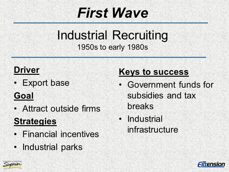 First Wave Industrial Recruiting 1950s to early 1980s