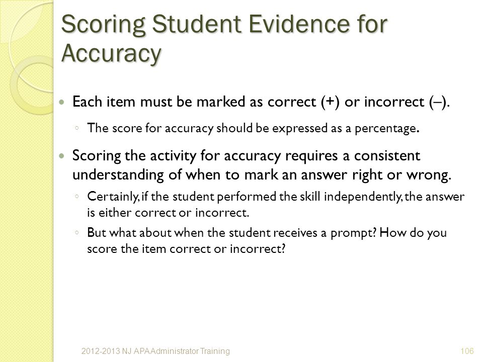 Scoring Student Evidence for Accuracy