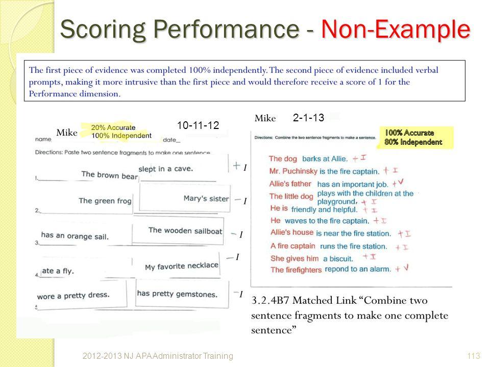 Scoring Performance - Non-Example