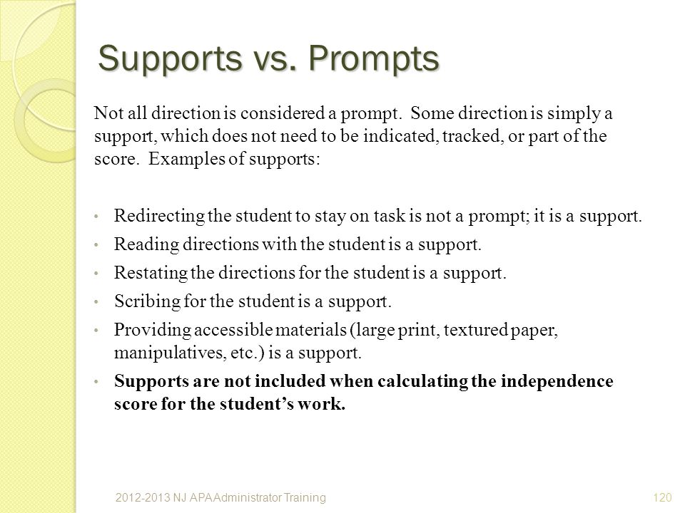 Supports vs. Prompts