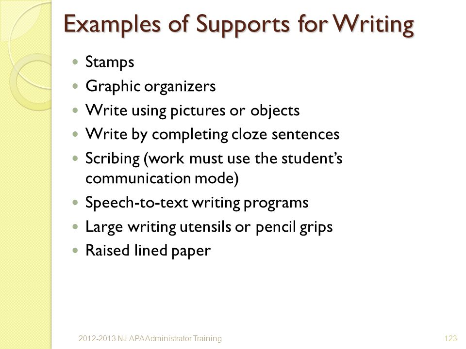 Examples of Supports for Writing