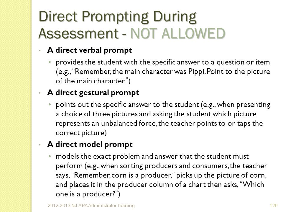 Direct Prompting During Assessment - NOT ALLOWED