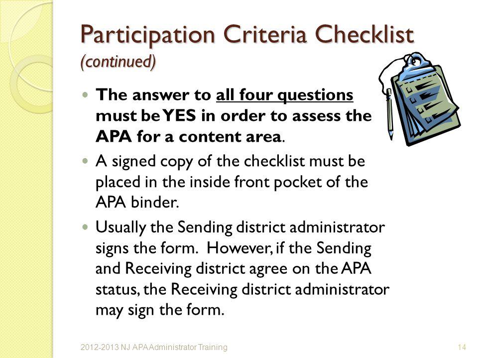 Participation Criteria Checklist (continued)