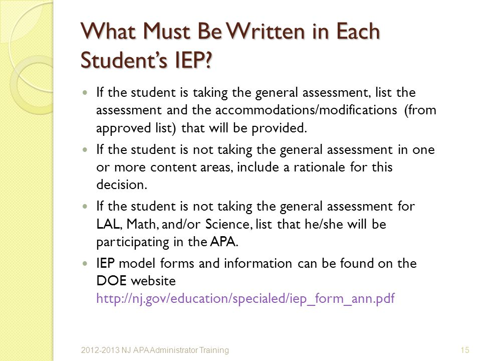 What Must Be Written in Each Student's IEP