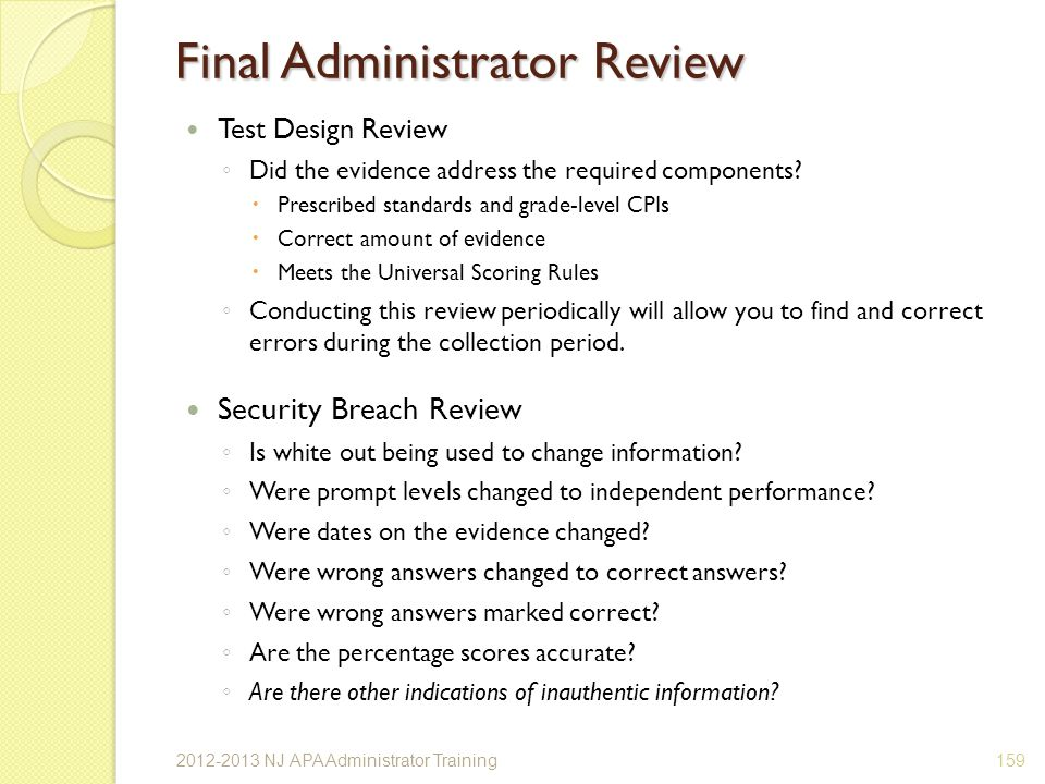 Final Administrator Review