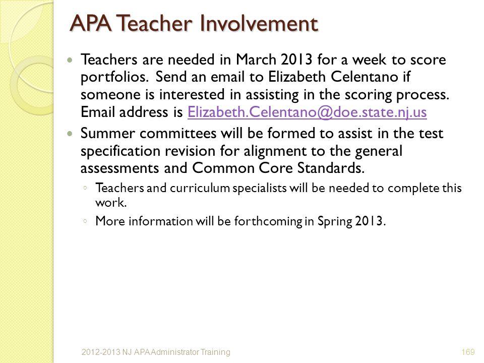 APA Teacher Involvement