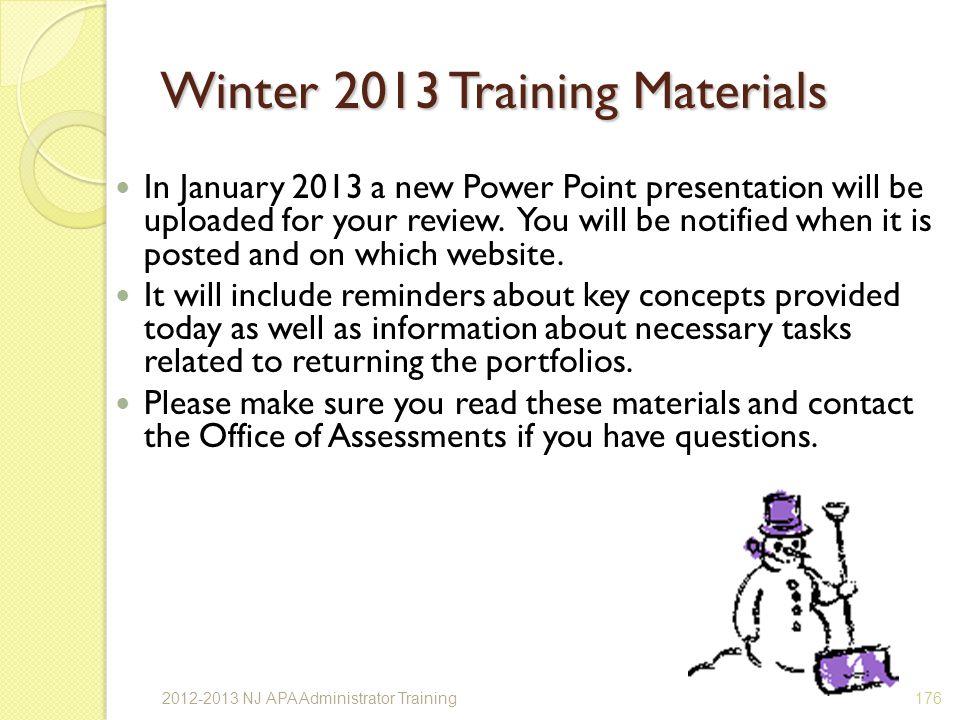 Winter 2013 Training Materials
