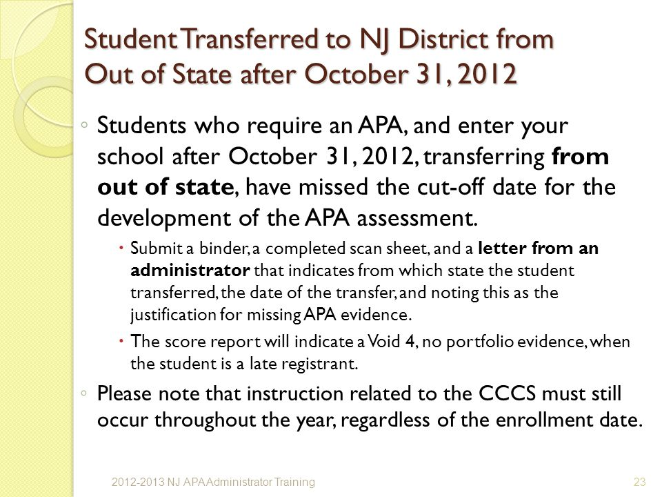 Student Transferred to NJ District from Out of State after October 31, 2012