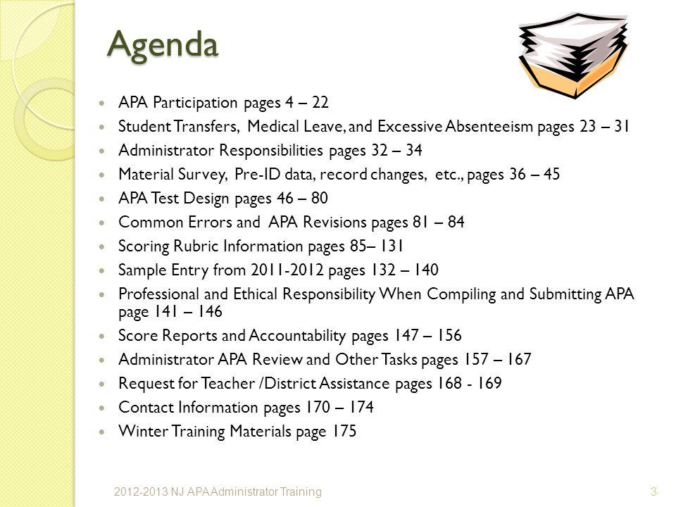 Agenda APA Participation pages 4 – 22