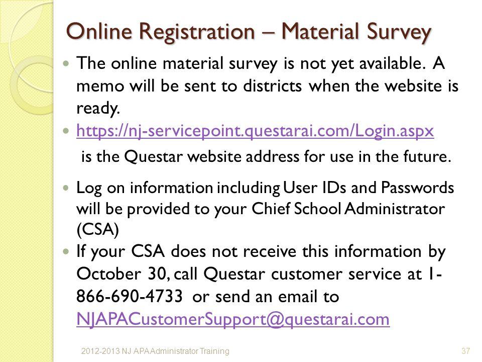 Online Registration – Material Survey