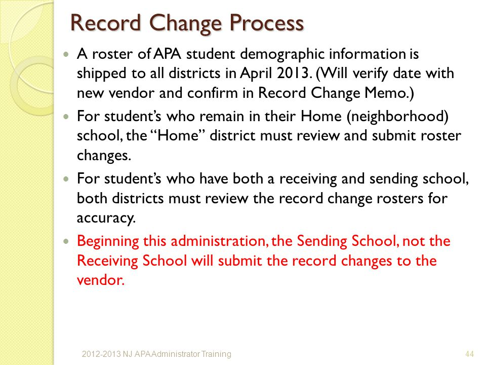 Record Change Process