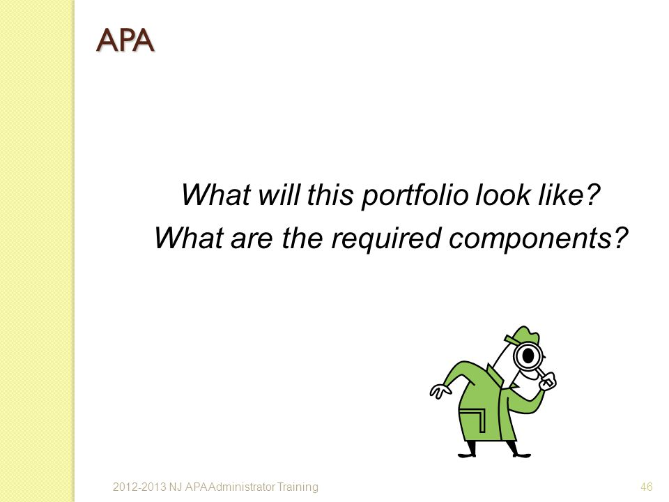 APA What will this portfolio look like
