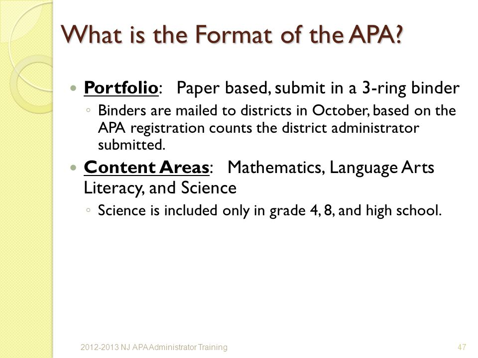 What is the Format of the APA