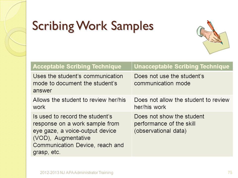 Scribing Work Samples Acceptable Scribing Technique