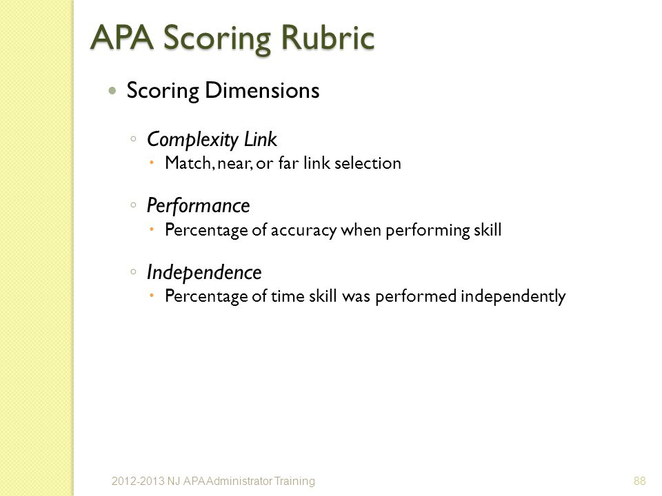 APA Scoring Rubric Scoring Dimensions Complexity Link Performance