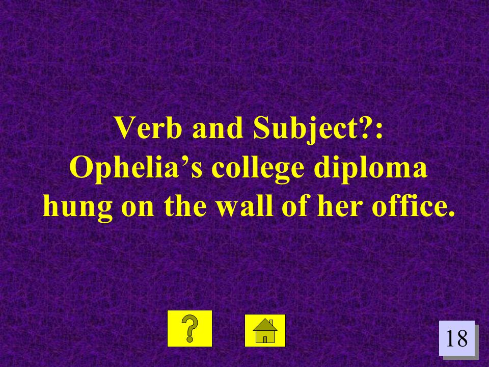 Verb and Subject : Ophelia's college diploma hung on the wall of her office.