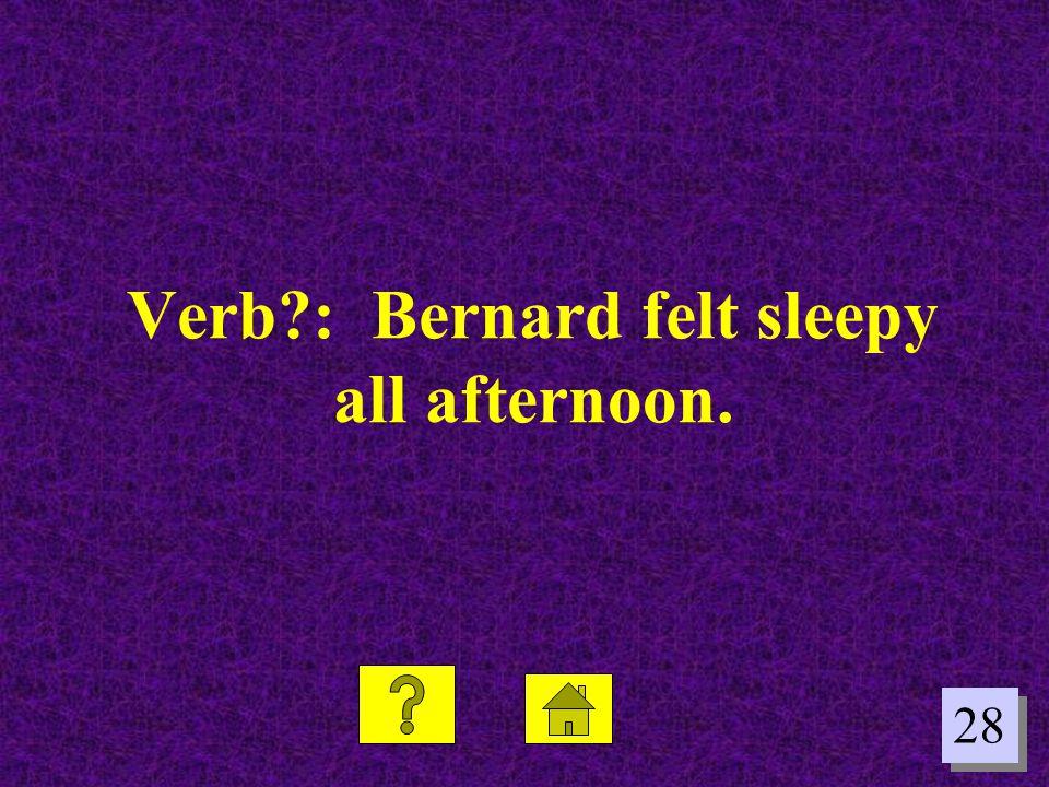 Verb : Bernard felt sleepy all afternoon.