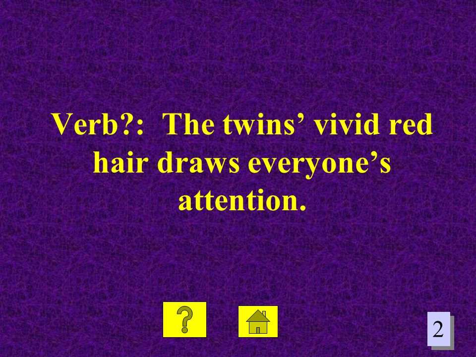 Verb : The twins' vivid red hair draws everyone's attention.