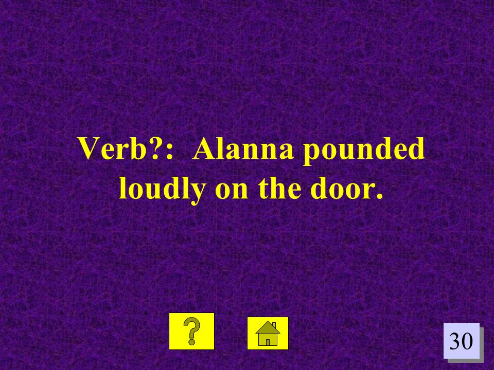 Verb : Alanna pounded loudly on the door.