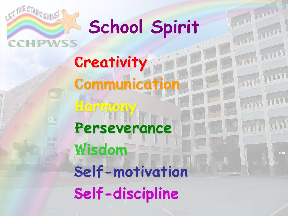 School Spirit Creativity Communication Harmony Perseverance Wisdom
