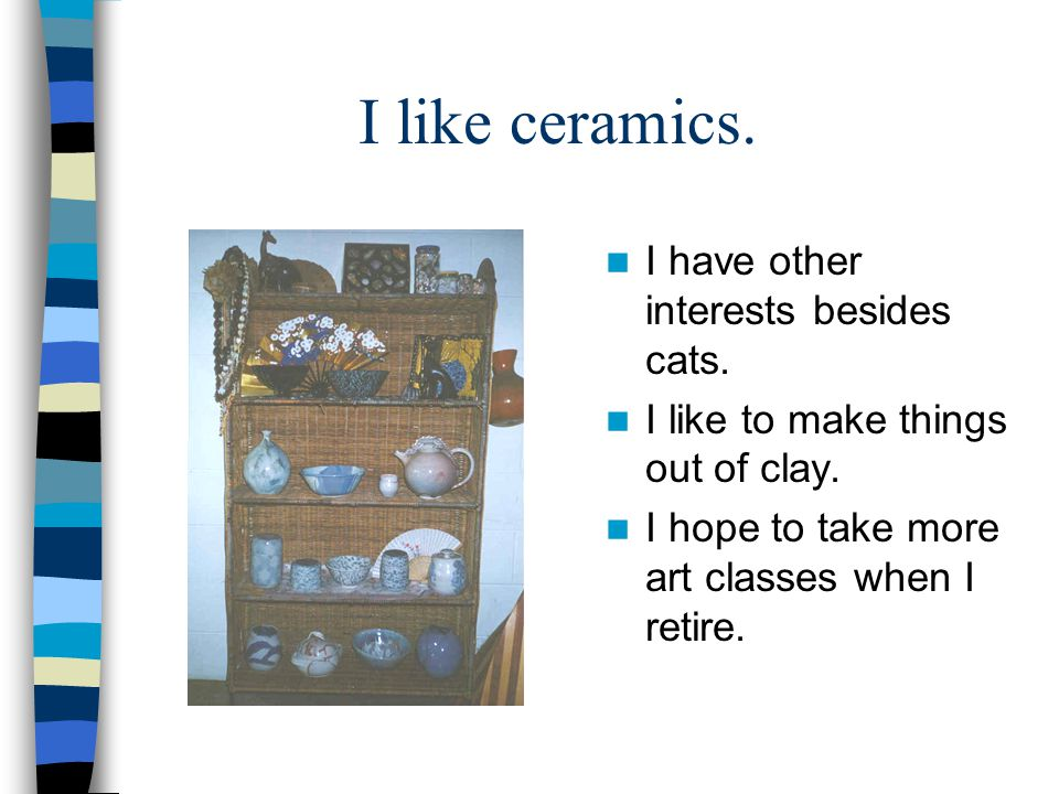 I like ceramics. I have other interests besides cats.