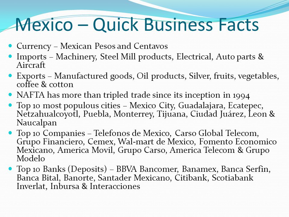 Mexico – Quick Business Facts
