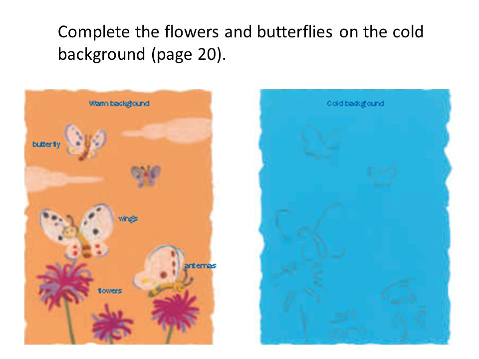 Complete the flowers and butterflies on the cold background (page 20).