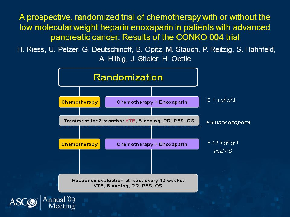 A prospective, randomized trial of chemotherapy with or without the low molecular weight heparin enoxaparin in patients with advanced pancreatic cancer: Results of the CONKO 004 trial H.