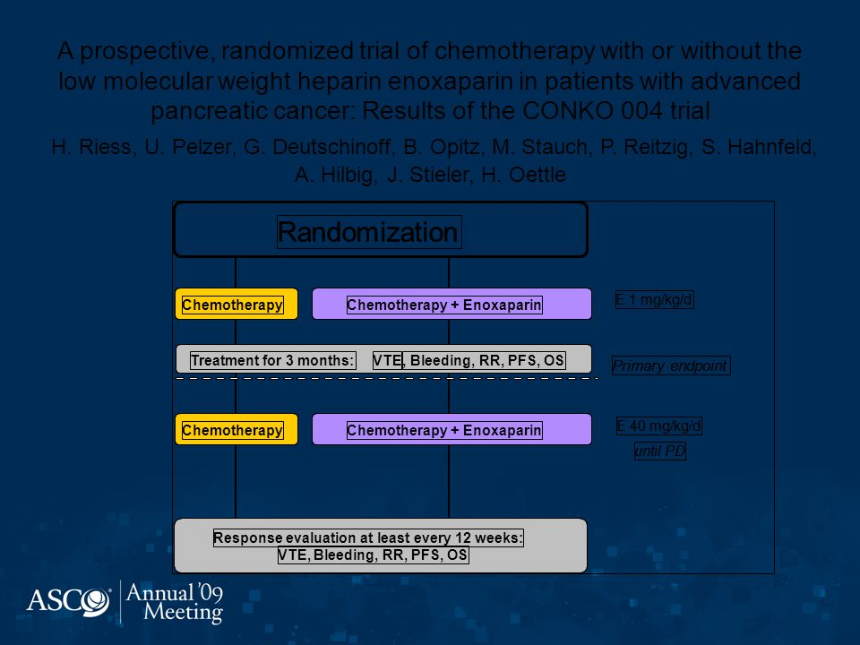 A prospective, randomized trial of chemotherapy with or without the low molecular weight heparin enoxaparin in patients with advanced pancreatic cancer: Results of the CONKO 004 trial H. Riess, U. Pelzer, G. Deutschinoff, B. Opitz, M. Stauch, P. Reitzig, S. Hahnfeld, A. Hilbig, J. Stieler, H. Oettle