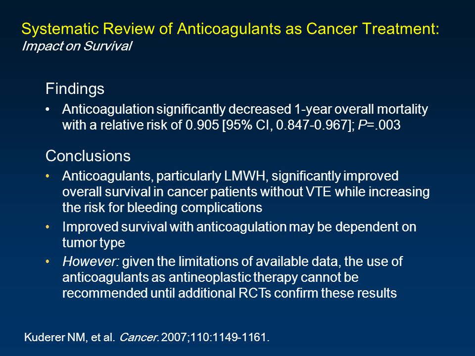 Systematic Review of Anticoagulants as Cancer Treatment: