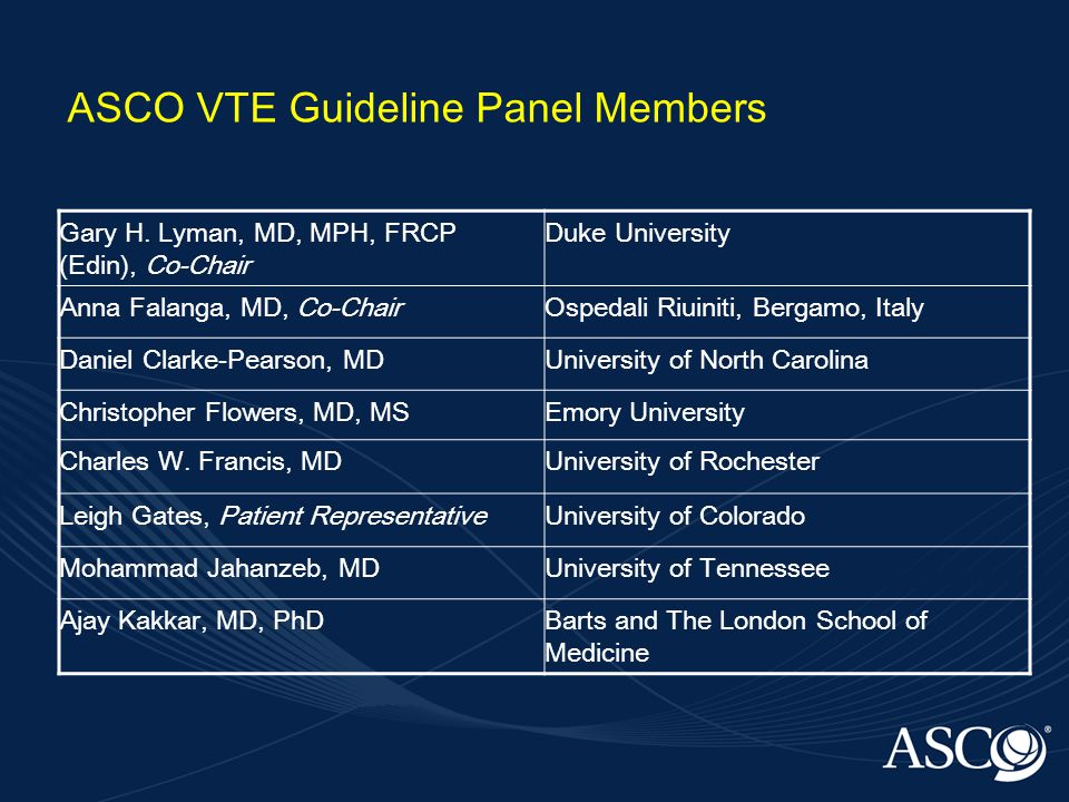 ASCO VTE Guideline Panel Members