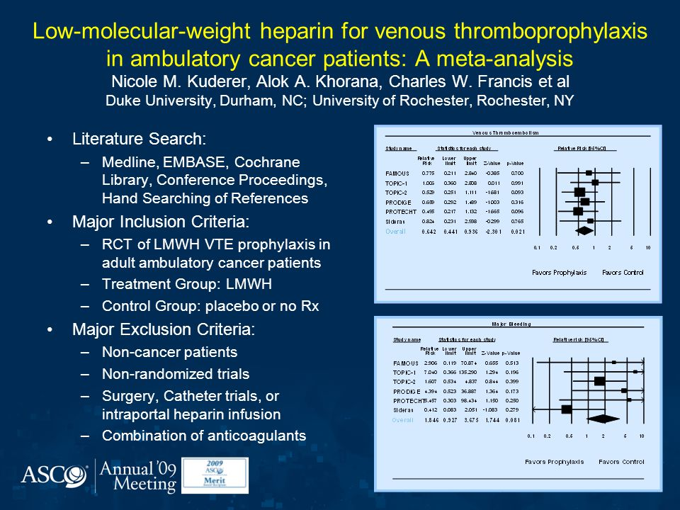 Low-molecular-weight heparin for venous thromboprophylaxis in ambulatory cancer patients: A meta-analysis Nicole M. Kuderer, Alok A. Khorana, Charles W. Francis et al Duke University, Durham, NC; University of Rochester, Rochester, NY
