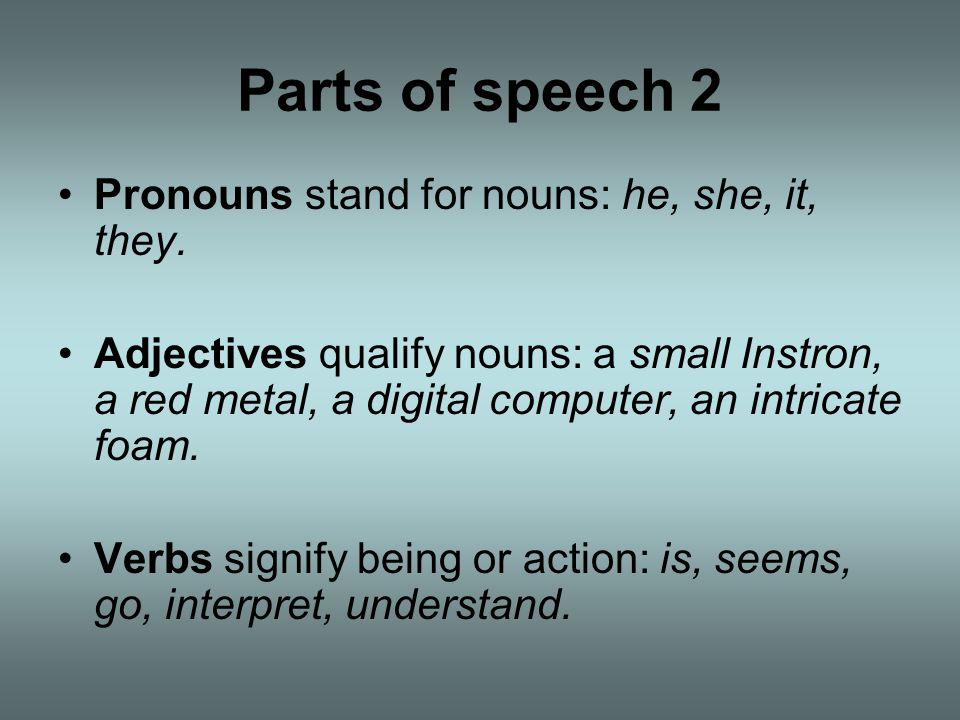 Parts of speech 2 Pronouns stand for nouns: he, she, it, they.