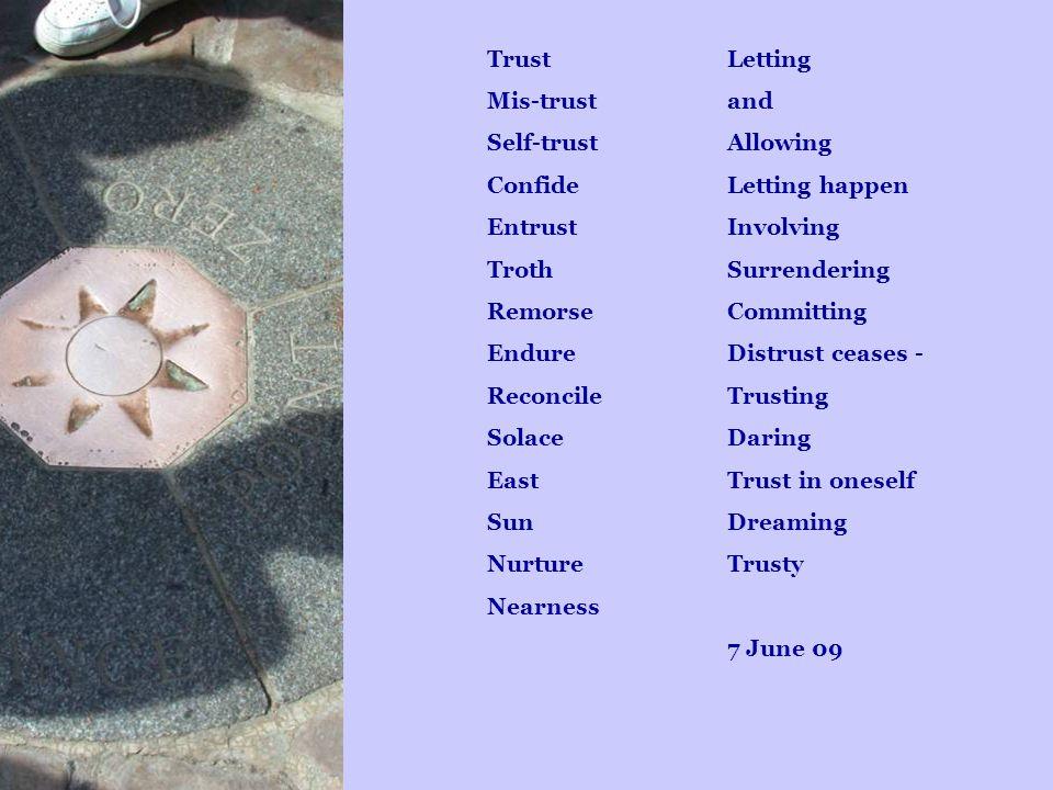 Trust Mis-trust Self-trust Confide Entrust Troth Remorse Endure Reconcile Solace East Sun Nurture Nearness