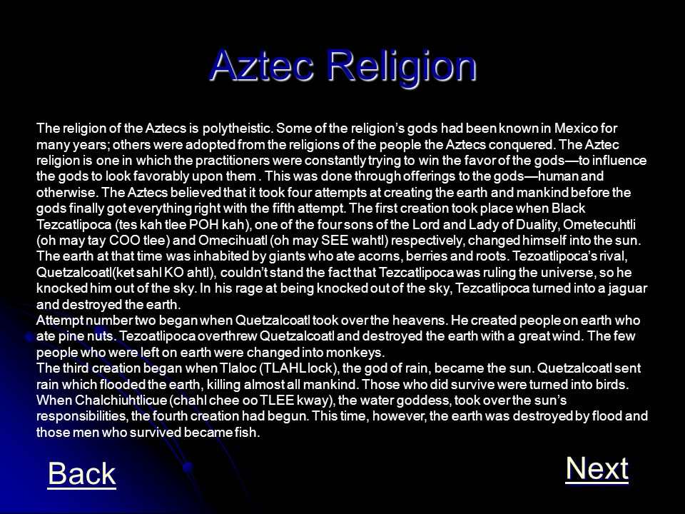 Aztec Religion Next Back