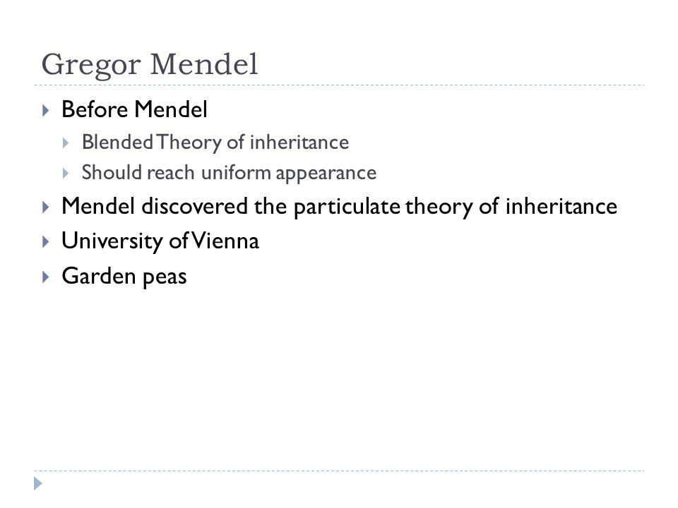 Gregor Mendel Before Mendel
