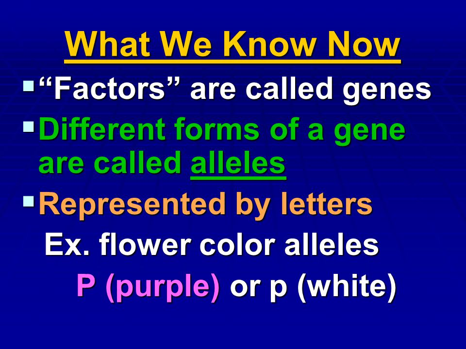 What We Know Now Factors are called genes