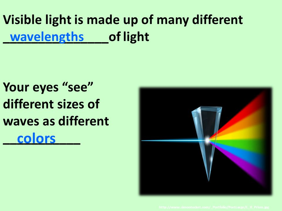 colors Visible light is made up of many different