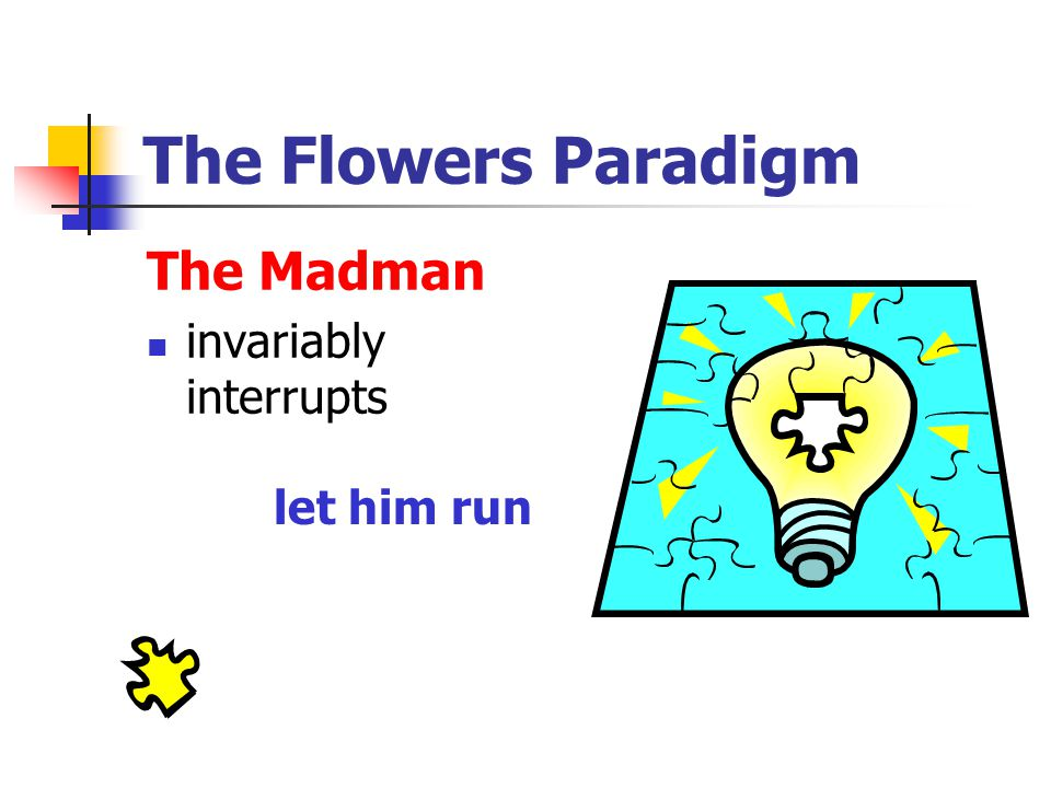 The Flowers Paradigm The Madman invariably interrupts let him run