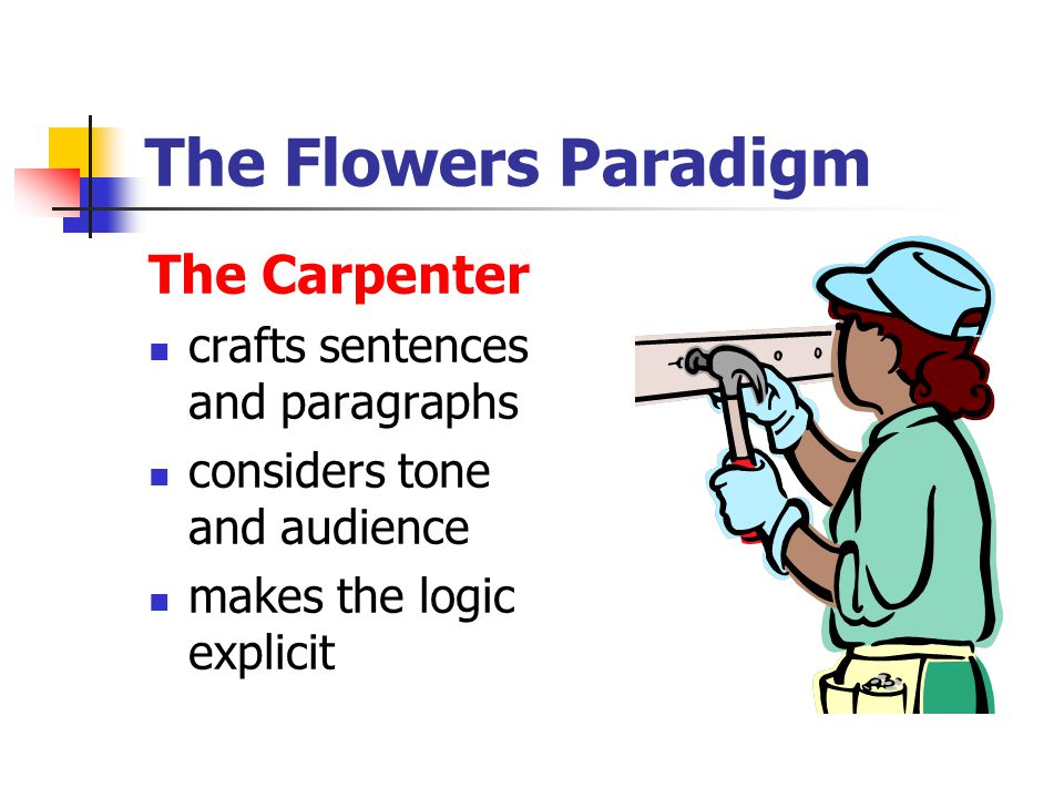 The Flowers Paradigm The Carpenter crafts sentences and paragraphs