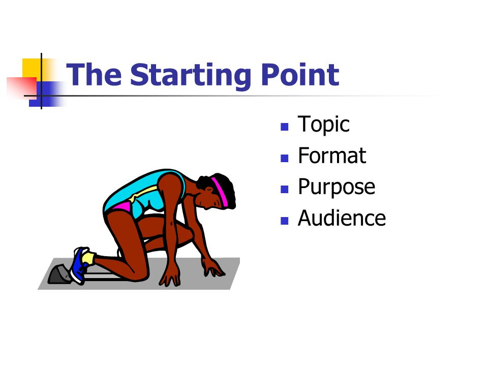 The Starting Point Topic Format Purpose Audience