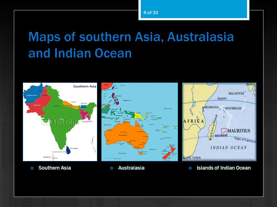 Maps of southern Asia, Australasia and Indian Ocean